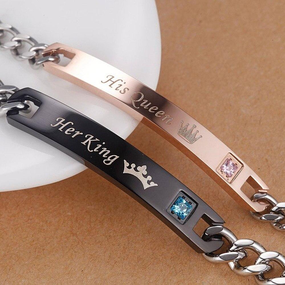 AZIZ BEKKAOUI Drop Verschiffen Liebhaber Paar Armbänder mit Box Benannt Armbänder Für Frauen Edelstahl Männer Schmuck Beste Geschenk