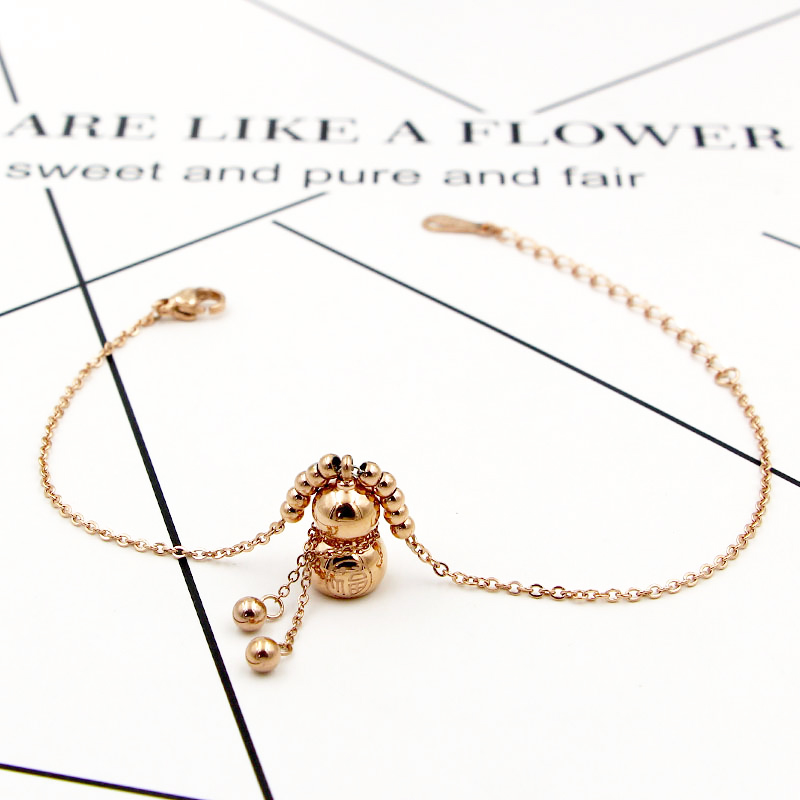 New Design Exquisite Beauty Chinese Element Bead Fu Character Gourd Anklets Titanium Steel Rose Gold Color Jewelry Woman Anklet