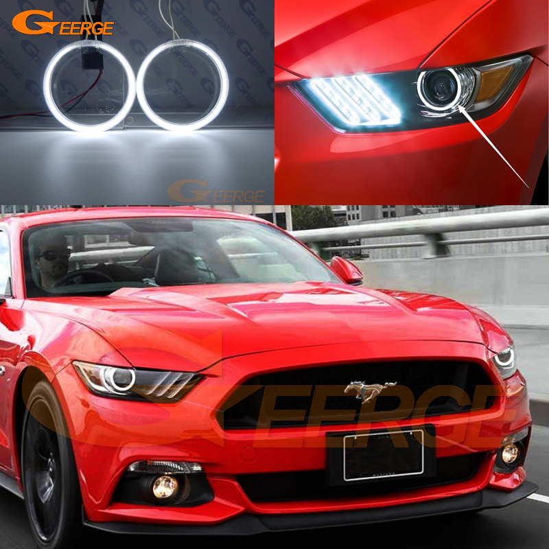 For Ford Mustang 2015 2016 headlight Excellent angel eyes Ultra bright illumination CCFL Angel Eyes kit Halo Ring ford mustang v6 2011