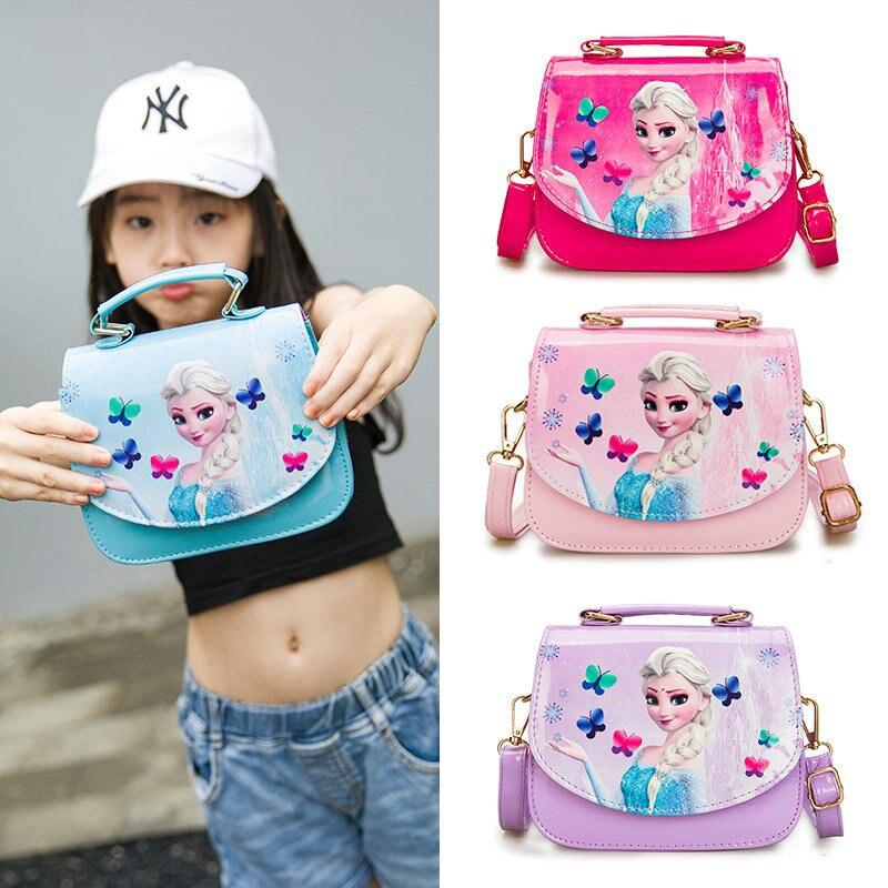 Fashion PU Princess Handbag Cute Snow Queen Mini Bag Children Cartoon Messenger Bags For Girls Kids Tote Girls Shoulder Bag