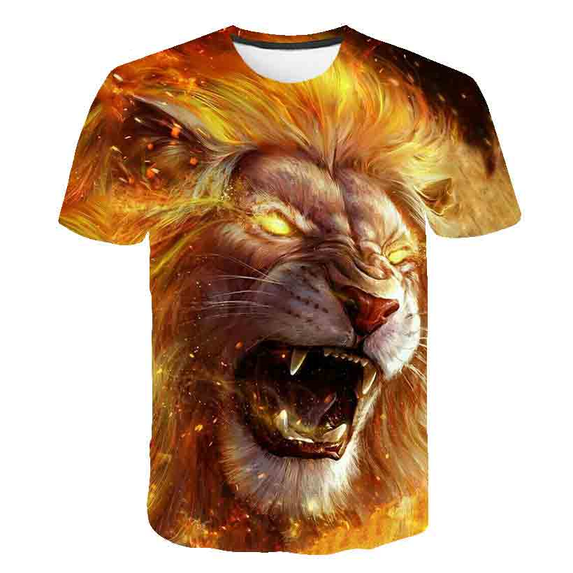 BIAOLUN New Summer Animal Tshirt Men Women T Shirt Lion T-shirt 3D Black Top Streatwear Tee Short Sleeve Clothing Brand 6XL
