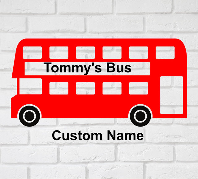 London bus wall decals fashion personalized name wall stickers for kids rooms vinyl custom name removable