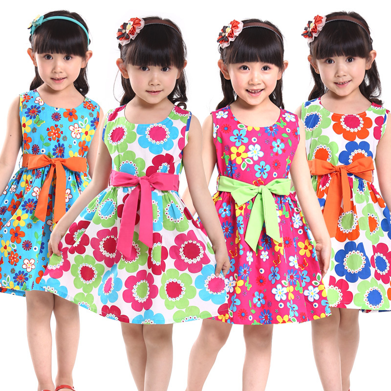 18311b637 Partido de la princesa vestido de tirantes tank 2015 verano para niños de  flores arco 100% algodón niño 4 5 7 8 9 10 11 12 13 14 años de bebé vestido  | ...