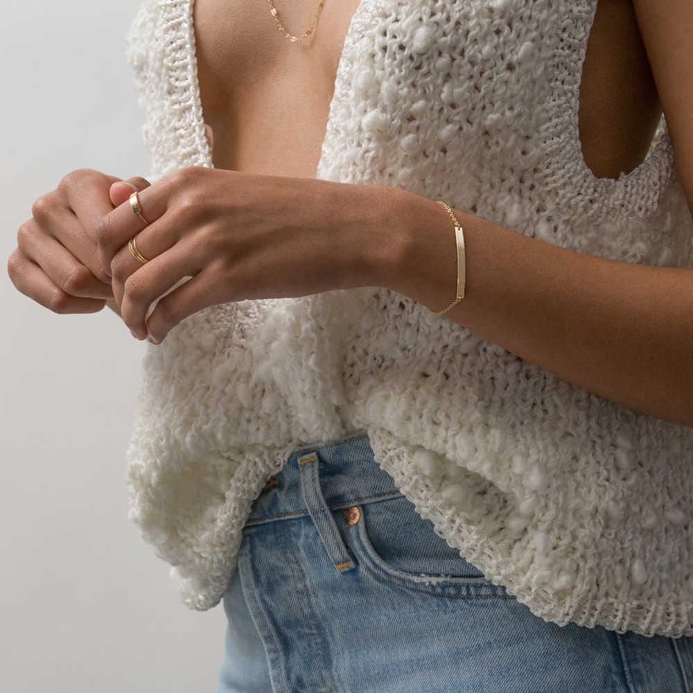 טבעת אצבע פשוט גיאומטרי שם ראשוני נירוסטה צמידים לנשים מינימליסטי צמיד ידידות צמיד תכשיטים