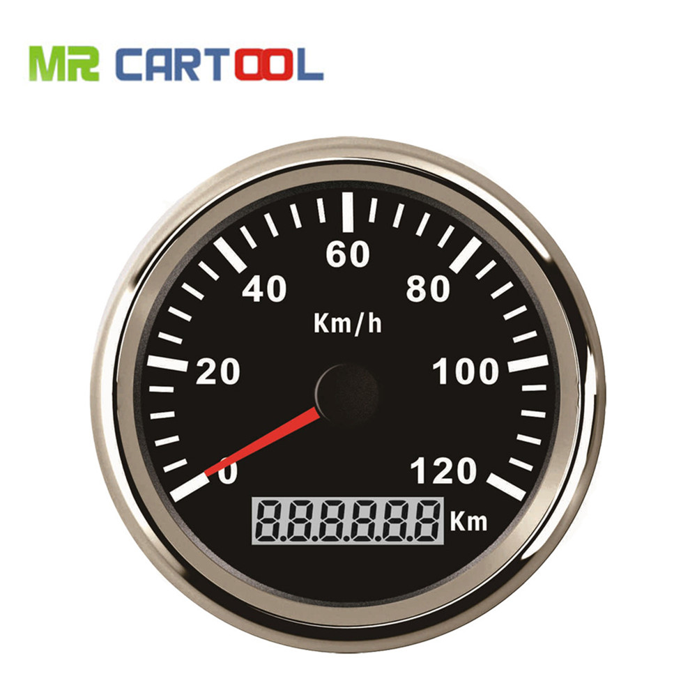 85mm GPS Speedometer Stainless Waterproof Gauge 120KM/H Speed for Car Truck 12V 24V