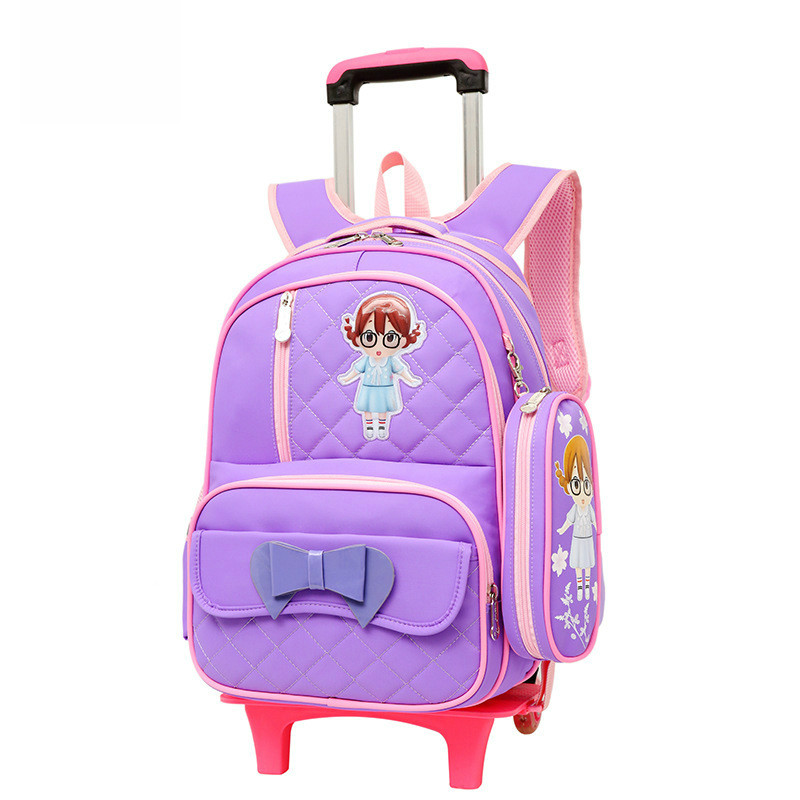 купить waterproof children School Bag Trolley school backpack Girls Wheels Travel backpack kids Rolling detachable princess schoolbags недорого