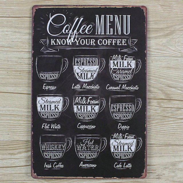 New Arrivals Metal Tin Signs About Coffee Menu RO 0419 Metal Plaque Home  Decor Wall
