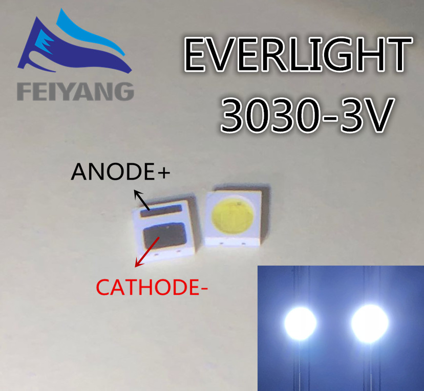 200pcs EVERLIGHT LED Backlight 1W 3030 3V Cool White 80-90LM TV Application 62-113TUN2C/S5000-00F/TR8-T