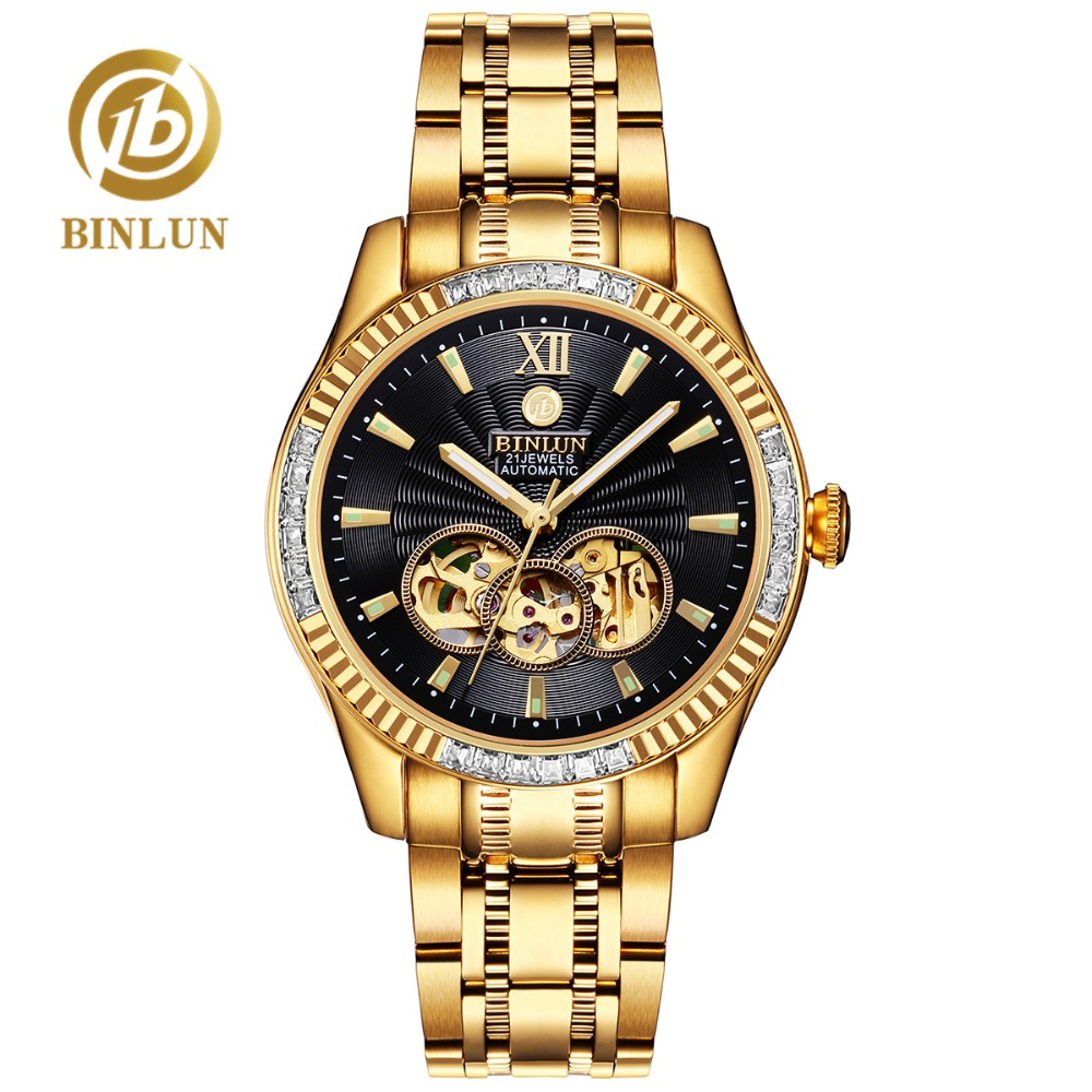 BINLUN 18 k Gold Luxury Heren Automatisch Horloge Topmerk Skelet Mechanische Herenhorloges Tourbillon Module Diamant Heren Polshorloge