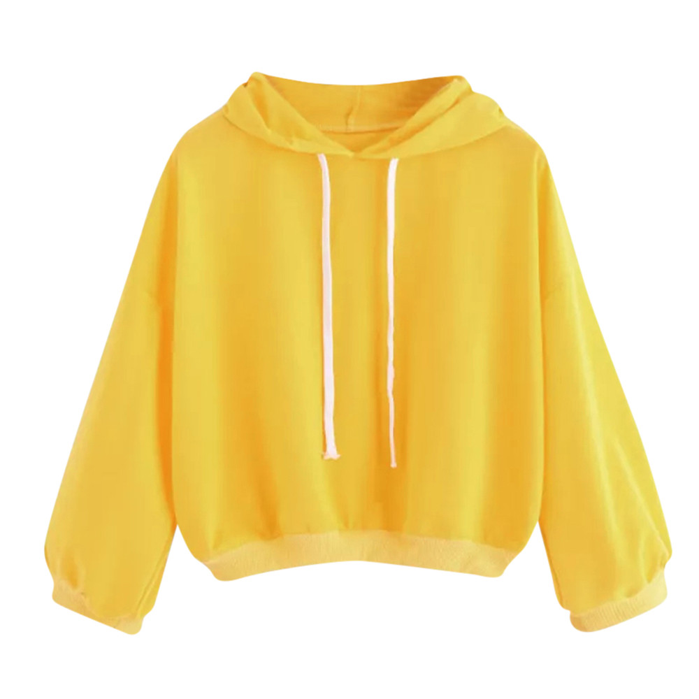 NEW Hoodies Sweatshirt Harajuku Kawaii Women yellow Long Sleeve Jumper Hooded Sweatshirts hip hop Pullover Tops Moletom Feminino