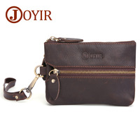Vintage Genuine Leather Key Wallet Men Keychain Covers Zipper Key Case Bag Men Key Holder Housekeeper Keys Organizer