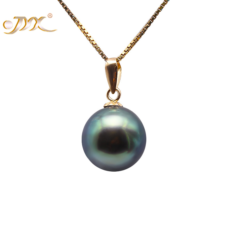 JYX 18 K Gold 10.0mm Peacock Green Tahitian Pendant Pearl South Sea Cultured Pendant 18 inches AAA Jewelry Gold 18k