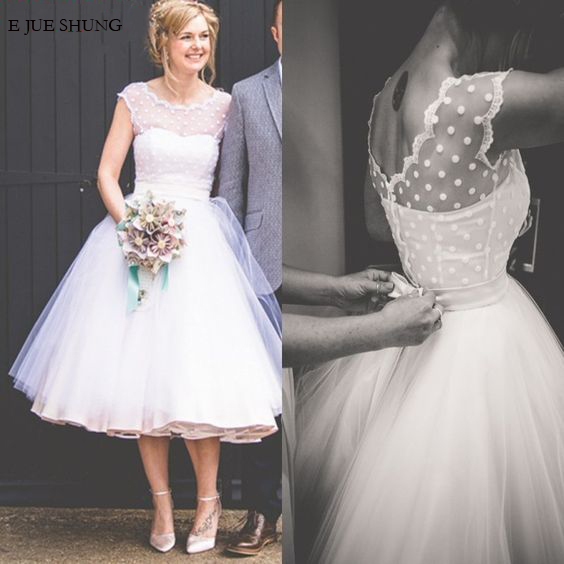 E JUE SHUNG White Ball Gown Tea Length Short Wedding Dresses Cap Sleeves Cheap Wedding Gowns Bride Dress robe de mariee