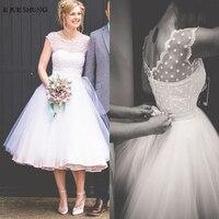 E JUE SHUNG White Ball Gown Tea Length Short Wedding Dresses 2019 Cap Sleeves Cheap Wedding Gowns Bride Dress robe de mariee