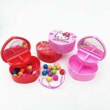 Фотография JOUDOO Cute Kawaii Hello Kitty Bead Shape Eraser Set Pencil Erasers Storage In Makeup Box Mirror School Supplies Gift for Kids