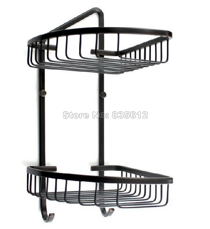 Bathroom Accessory / Black Oil Rubbed Bronze Wall Mounted Dual Tier Corner Shower Caddy Wire Basket Storage Wba067 bathroom accessory wall mounted 2 tier triangular shower caddy shelf bathroom corner rack storage basket hanger wba076