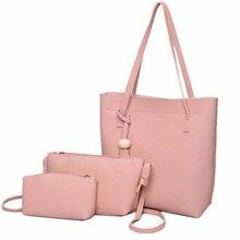 Hot Nuevo de Las Mujeres Negro Bucket Bag Ladies Bolsos PU Cuero bolsa de Hombro bolsa de la Marca de Lujo Del Bolso Trenzado Líneas Bolso de Mano 3 Sets XA656B