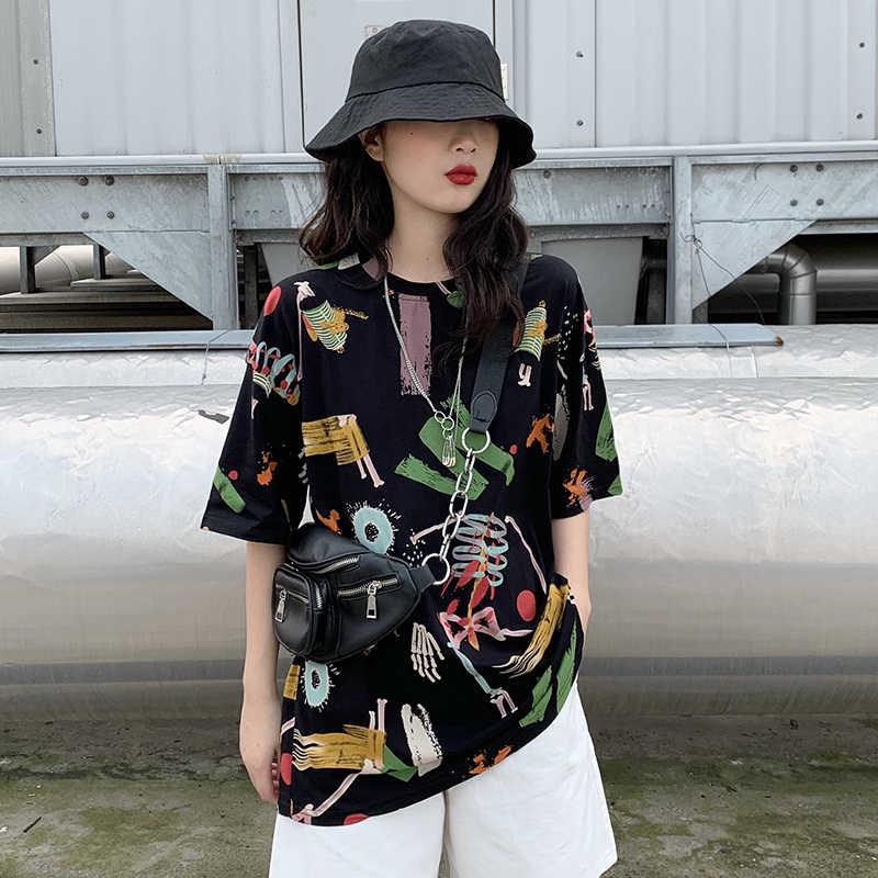 Nieuwe Zomer Losse Korte mouwen T-shirt Vrouwelijke Koele Straat Hiphop Graffiti Harajuku Stijl Shirt Camisetas Verano Mujer 2019