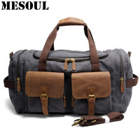NewLarge Capacity MenTravel Bags Vintage Military Crazy Horse Leather Luggage Bag Canvas Casual Shoulder Tote Weekend