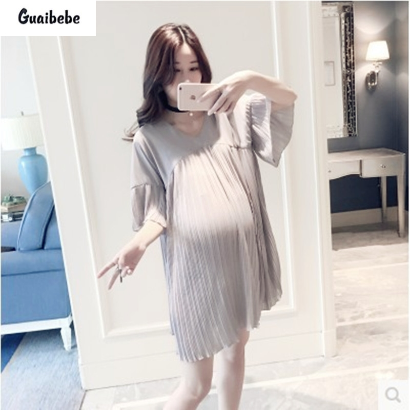ФОТО Natural Solid Color Pleated Ruffles Loose Maternity Dresses Knee-length Chiffon Soft Thin Pregnancy Dress Pregnant Women Clothes