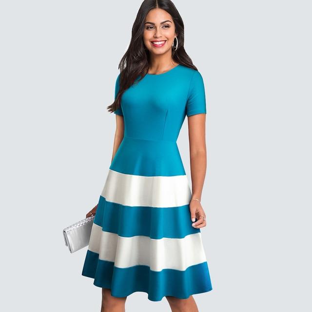 Women Summer Casual Patchwork Party Dress Vintage Stripe Brief Wave  A-line Dress 3