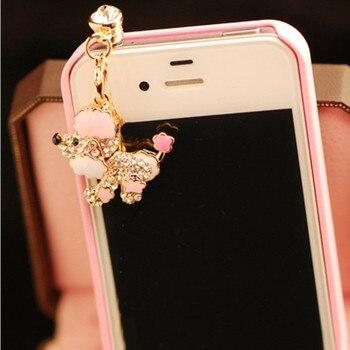 Diamond Animal Pattern Poodle Lady Dog Anti Dust Plug Phone Accessories Earphone Headphones Jack Anti Plugs for iphone 6 huawei