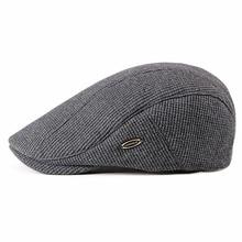 Fibonacci Fashion Men's Newsboy Caps Knitting Plus Velvet Beret Hats for Men Autumn Winter Flat Dad Hat