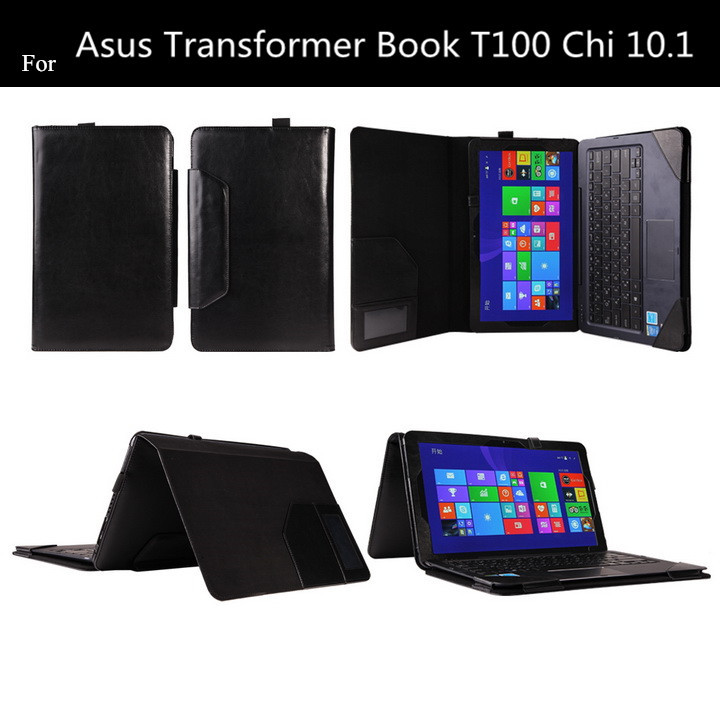 Fashion T100 CHI For Asus Transformer Book T100 Chi 10.1 Keyboard Leather Case With Card Slot +screen prtoectors