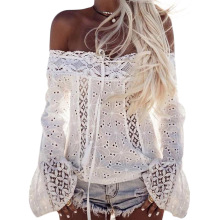 Off shoulder white lace blouse shirt women Flare sleeve hollow out tassels women tops Summer beach casual blusas femme