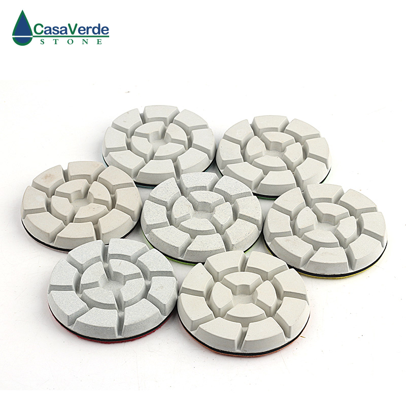 Free shipping white 4 inch wet diamond floor abrasive pads 100mm for polishing granite concrete marble