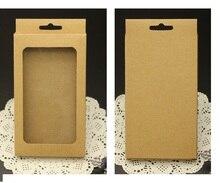 500 adet Toptan kraft Cep telefon kılıfı ambalajı kutuları, cep telefonu kapağı ambalaj Kraft kutuları plastik pencere ile takı paketi
