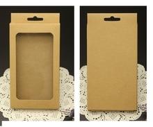 500 יחידות מקרה טלפון סלולרי סיטונאי קראפט קופסות אריזה, תכשיטי אריזות קופסות קראפט עם חלון פלסטיק כיסוי טלפון נייד חבילה