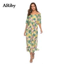Women Dress Summer Long 2019 New Lady Bohemian Chiffon Floral Printed Empire Slash Neck Strapless Split Beach A-Line