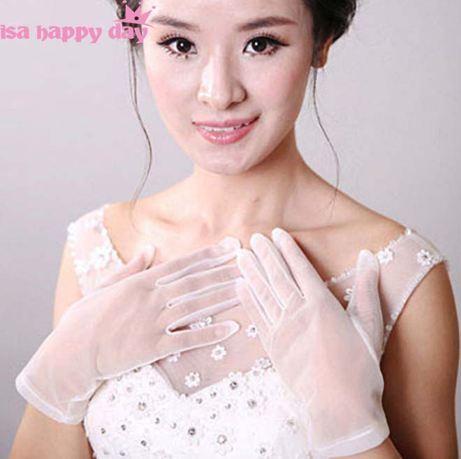 Women Simple See Through Tulle Gloves Ladies Ivory Wrist Gloves Marriage Glove Evening Party Cosplay Costume Accessories