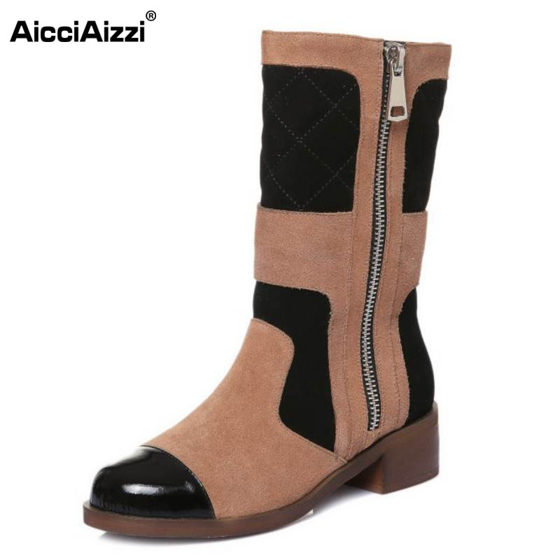 AicciAizzi Size 33-42 Women Genuine Leather High Heel Boots Zipper Half Short Boots Warm Fur Shoes Winter Botas Women Footwears цена