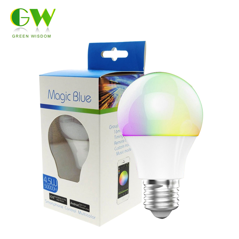 Bluetooth LED Bulb 4.5W E27 RGBW Bluetooth 4.0 Smart LED Light Color Change Dimmable by IOS / Android APP. change translated by howard goldblatt
