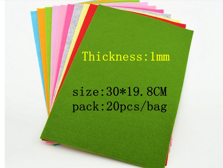30*19.8CM 20 colors polyester acrylic nonwoven Fabric,needlework,diy,needle,sewing,handmade, non-woven felt fabric 612