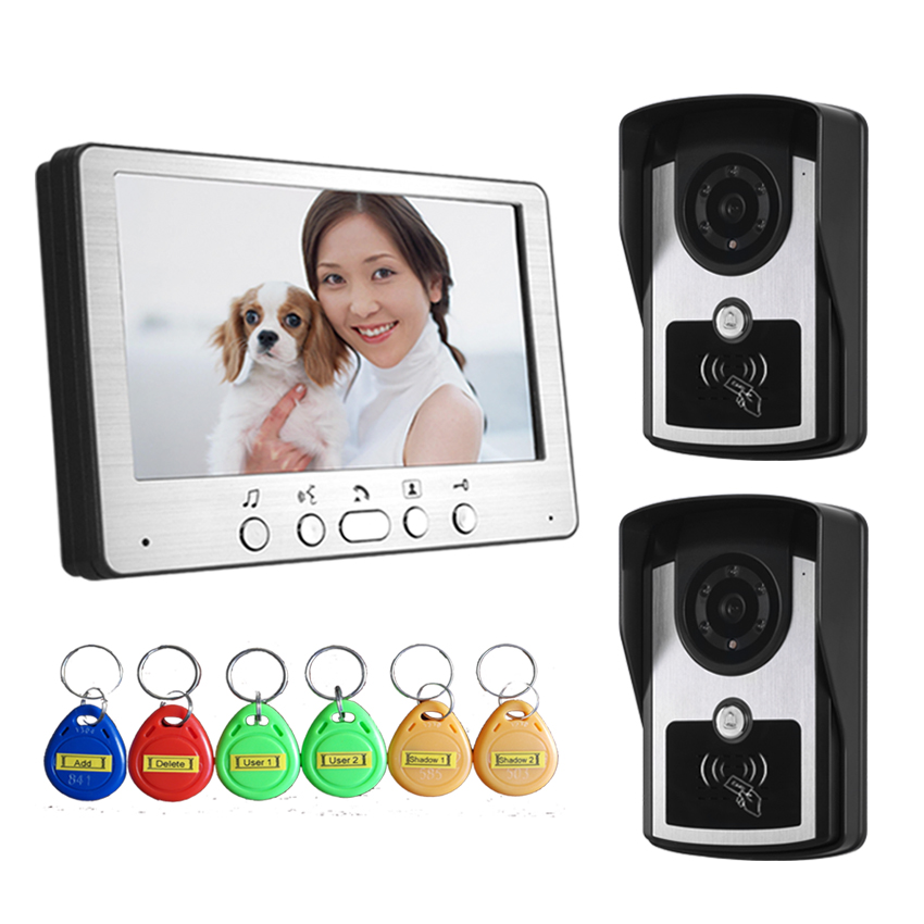 7 Inch Wired Intercom Video Door Phone 2v1 Rain-proof ID Card Access Control System