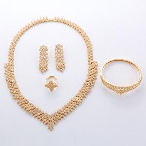Image 4 - Hadiyana venda quente de luxo feminino nigeriano casamento conjunto noiva moda zircônia cúbico manequim conjuntos jóias frete grátis tz8022