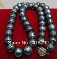free shipping >>>>>Natural 12-13mm AAA+ south sea black pearl necklace 18""