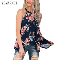 Navy Cute Rose Floral Print Women Tank Tops 2017 Summer Style Flowy Sexy O Neck Strap