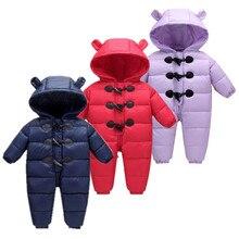 Г. Милая зимняя детская одежда для снежной погоды 90% куртки-пуховики для младенцев, пальто зимние комбинезоны зимний комбинезон с ушками, комбинезон, одежда для малышей