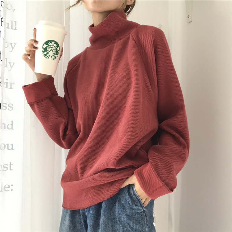 Autumn New Women Sweater Casual Loose Turtleneck Knitted Jumpers 18 Long Batwing Sleeve Crocheted Pullovers Streetwear Winter 13