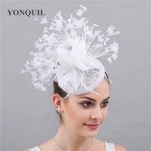 Модные головные уборы Sinamay с перьями, элегантные женские аксессуары для волос, женские вечерние головные уборы с зажимами