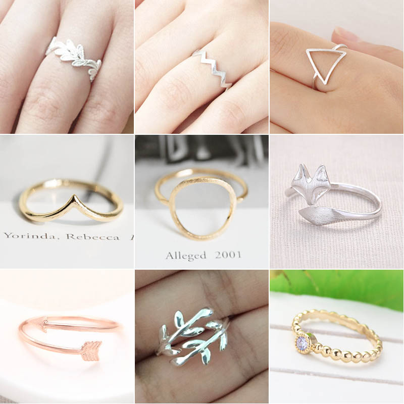 2366ab82624b SMJEL Trendy Animal Fox Rings for Women Fashion Leaf Charm Wedding Ring  Snow Mountain Wave Knuckle