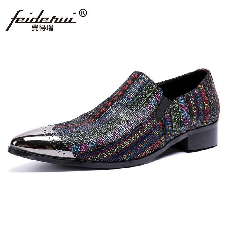 Plus Size New Arrival Genuine Leather Man Brogue Loafers Pointed Toe Slip on Striped Men's Runway Party Casual Shoes SL402