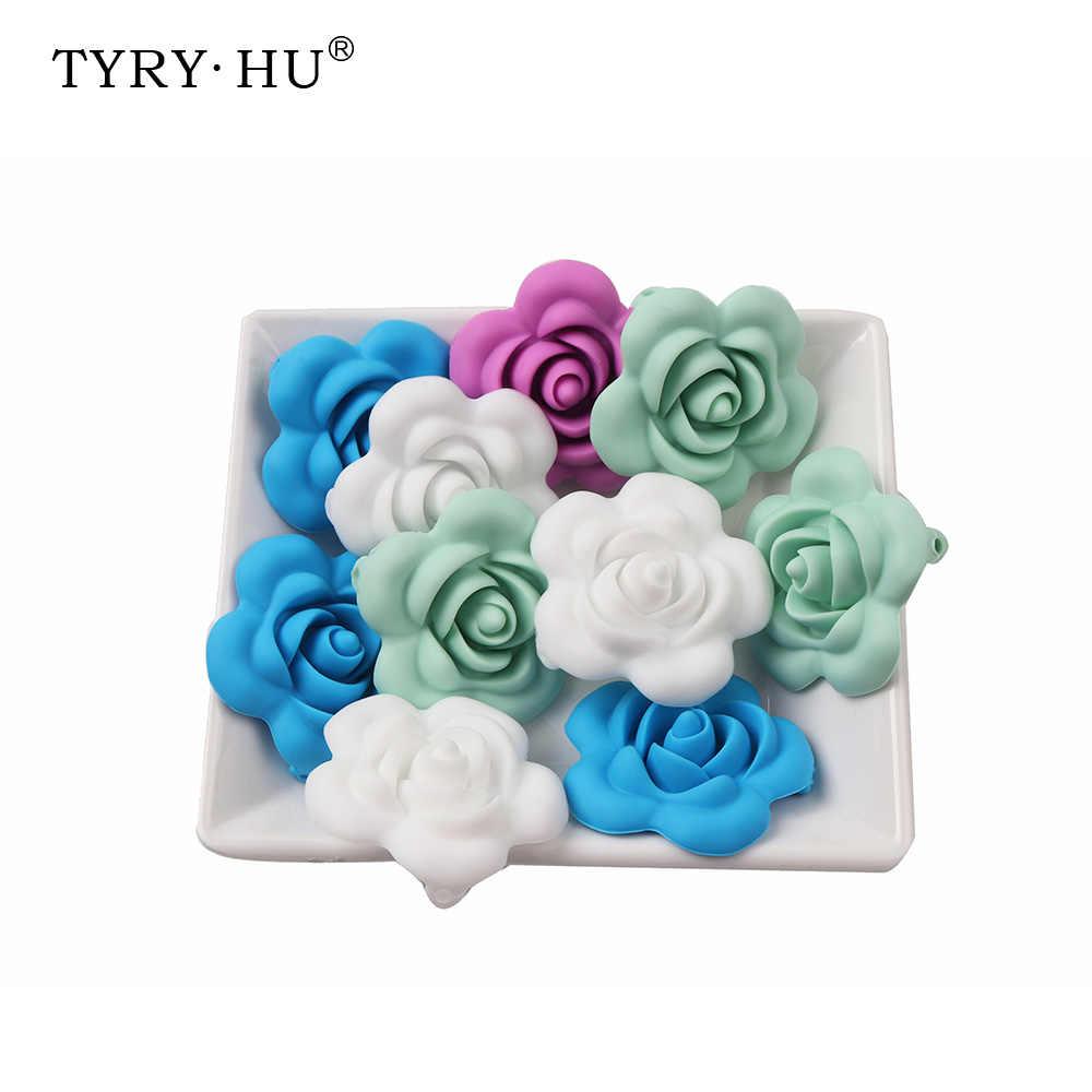 Tyry. Hu 10Pcs 40Mm Baby Teether Aksesoris Silikon Teething Manik-manik untuk Tumbuh Gigi BEBE Perawatan Mon Food Grade Silicone