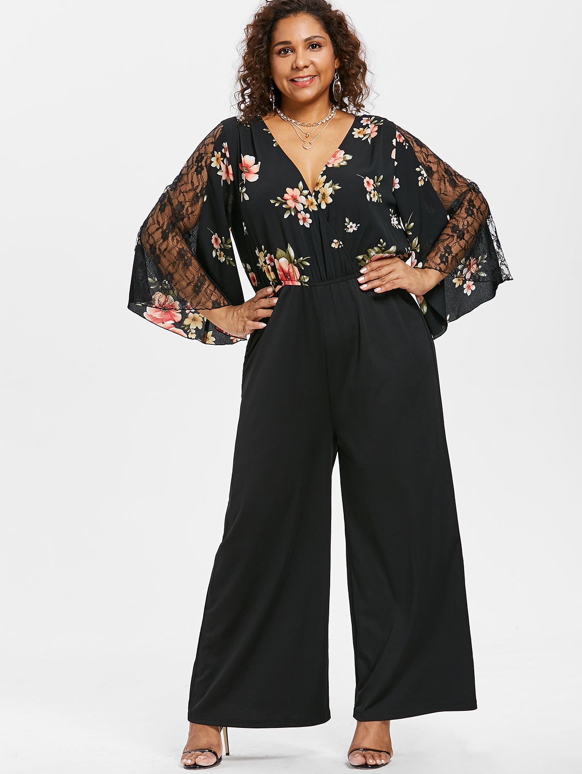 f0107e2f338 Wipalo Autumn Floral Print Jumpsuit Women Casual Black Wide Leg Rompers  Plus Size Lace Patchwork Bell Sleeve Jumpsuits Overalls