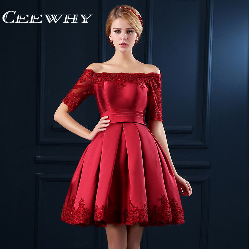 CEEWHY Short Sleeve Embroidery Lace Special Occasion Women Evening Party Dress Knee Length Cocktail Dresses Short Prom Dress
