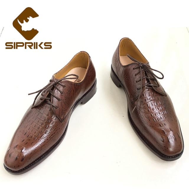 Para Hechos Hombre Cuero Zapatos Sipriks De Mano Italiano Cocodrilo Piel A Goodyear 5wFCR